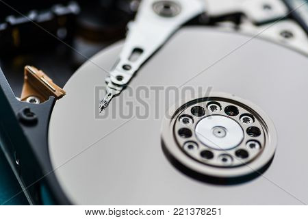 Close Up On Opened Hard Disk Drive.