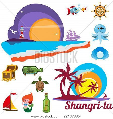 Set of multicolored images with marine issues Shangri-la, coastal countries, exotic vacation, seaside resort.