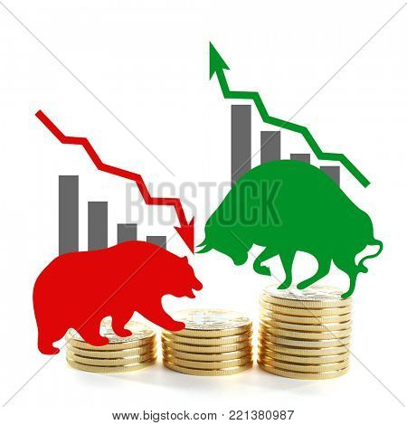 Confrontation between bull and bear as symbols of financial market with bitcoins on white background. Concept of stock trading