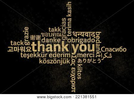 shiny golden glitter thank you word cloud in different languages on black background
