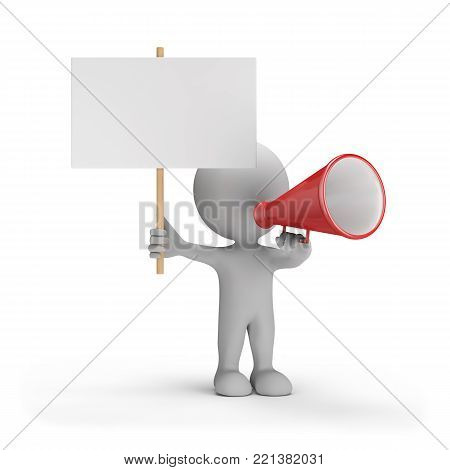 3d person with loudspeaker and an empty billboard. 3d image. White background.
