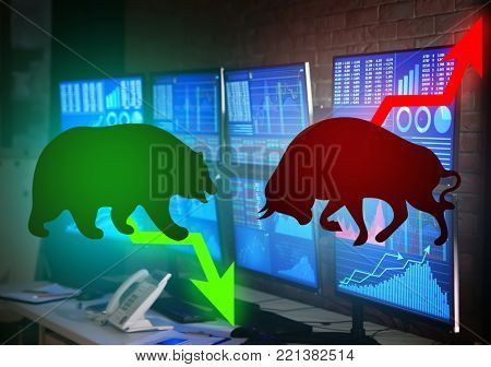 Confrontation between bull and bear as symbols of financial market with stock trader's workplace on background