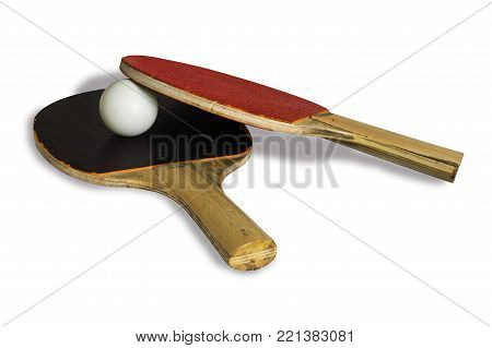 Table tennis. Two racquets and a ping-pong ball