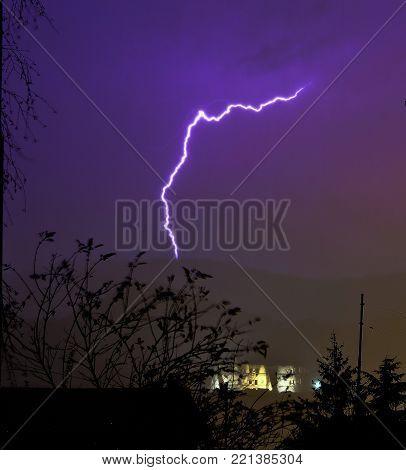 lightnings and lightning over a medieval castle