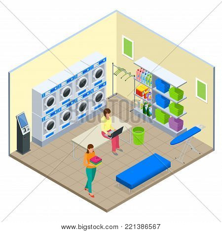 Laundry service and dry cleaning concept. Row of industrial laundry machines in laundromat. Iron, ironing board and laundry basketf. Flat isometric style vector illustration isolated on white