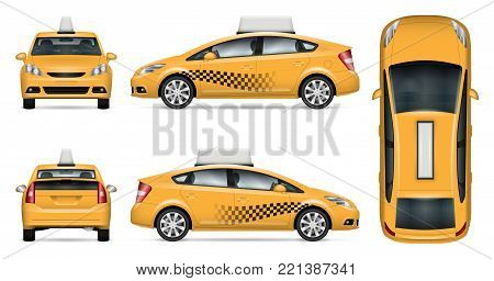 Taxi cab vector mock up for advertising, corporate identity. Isolated template of city car on white background. Vehicle branding mockup. Easy to edit and recolor. View from side, front, back, top.
