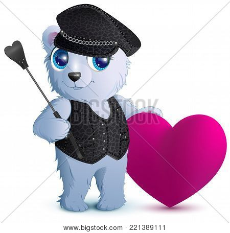 White bear in black leather clothes in style of bdsm. Isolated on white vector cartoon illustration