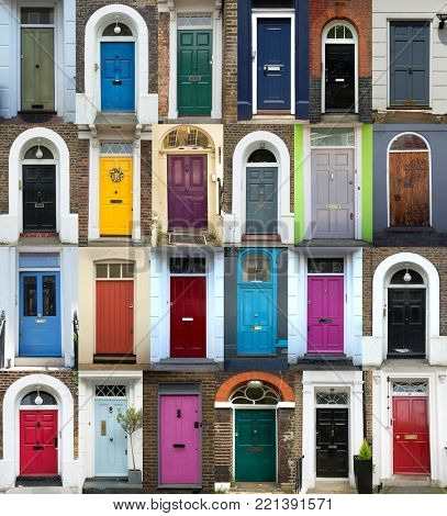 Collage of 24 old and colorful doors from London, UK