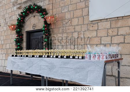 Mi'ilya, Israel, December 22, 2017 : Table with prizes for participants of the annual race