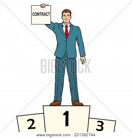 Businessman on sports pedestal with contract in hand pop art retro vector illustration. Isolated image on white background. Comic book style imitation.