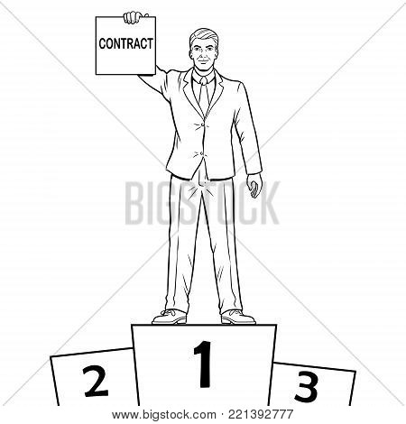 Businessman on sports pedestal with contract in hand coloring vector illustration. Isolated image on white background. Comic book style imitation.