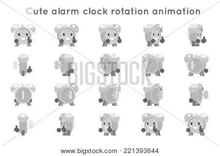 Alarm clock cute child ticker kid character icons rotation animation symbols set frames isolated flat design vector illustration poster