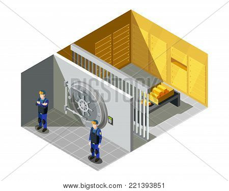 Federal bank gold vault compartment security system guarded by armed police force officers isometric composition vector illustration
