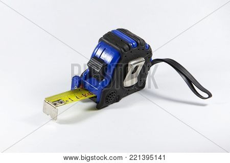 tape measure isolated on white background. black and blue tape measure