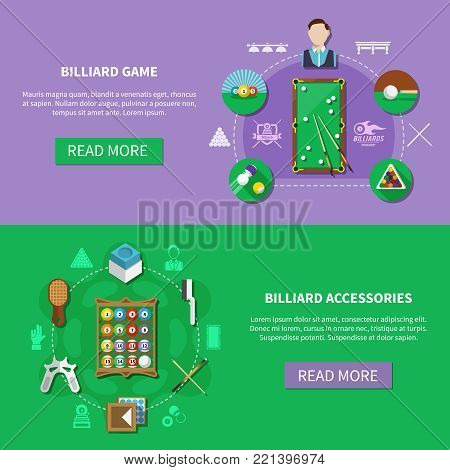 Billiards set of horizontal banners with players, game accessories isolated on green and lilac background vector illustration