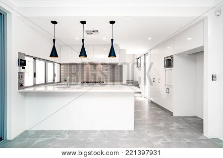 Modern style kitchen interior in a large Australian home.