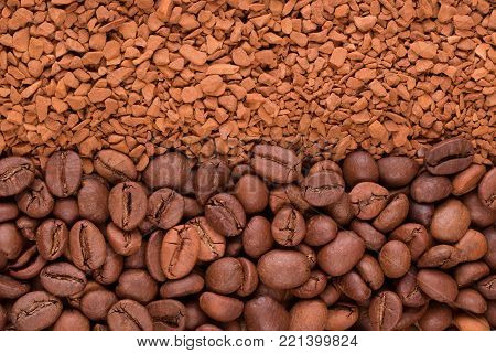 Two types of coffee. Coffee beans and soluble granules