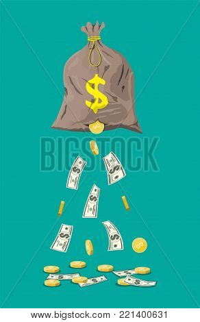 Money bag with hole. Losing golden coins and dollar cash. Losing money and overspending. Vector illustration in flat style