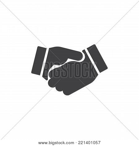 Business handshake icon vector, filled flat sign, solid pictogram isolated on white. Agreement, Shaking hands symbol, logo illustration.