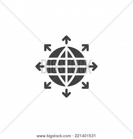 Globe sphere and outgoing arrows icon vector, filled flat sign, solid pictogram isolated on white. Symbol, logo illustration.