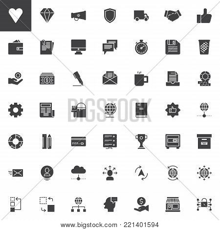 Universal business vector icons set, modern solid symbol collection, filled style pictogram pack. Signs, logo illustration. Set includes icons as megaphone, shield, money, newspaper, trophy, wallet