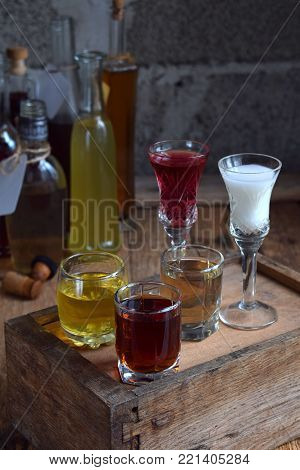 Selection Of Alcoholic Drinks. Set Of Wine, Brandy, Liqueur, Tincture, Cognac, Whiskey Bottles. Larg