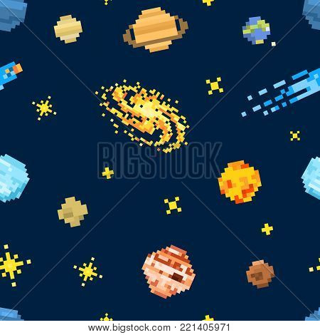 space seamless pattern background, alien spaceman, robot rocket and satellite cubes solar system planets pixel art, digital vintage game style. Mercury, Venus, Earth, Mars, Jupiter, Saturn