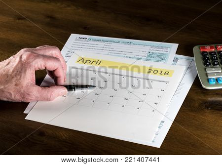 Senior retired man worried about filing return before tax day for filing on April 17 2018