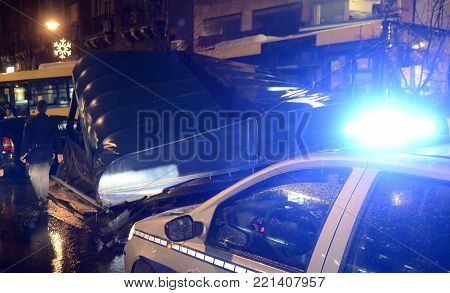 Blue police light in night action at crime scene
