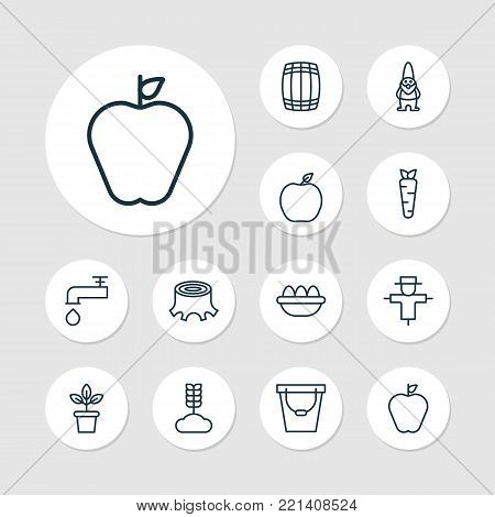 Farm icons set with cereal, spigot, pail and other nectarine elements. Isolated vector illustration farm icons.