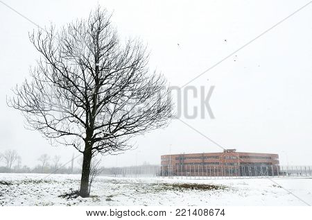 Prison exterior on cold winter cloudy day, tree in front