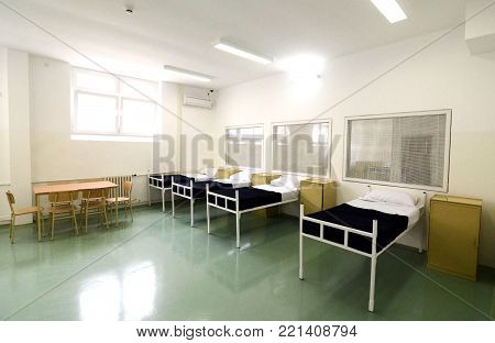 Prison interior, empty prison hospital and first aid