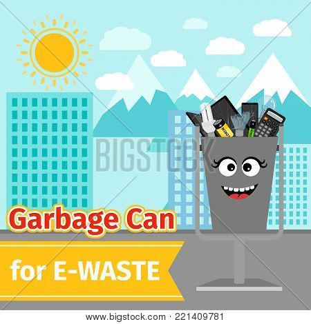 Garbage can with e-waste trash and monster face on the street, vector illustration