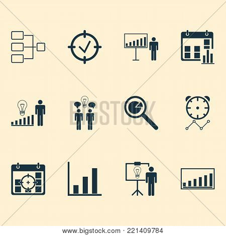 Board icons set with project targets, co-working, project presentation and other system structure elements. Isolated vector illustration board icons.