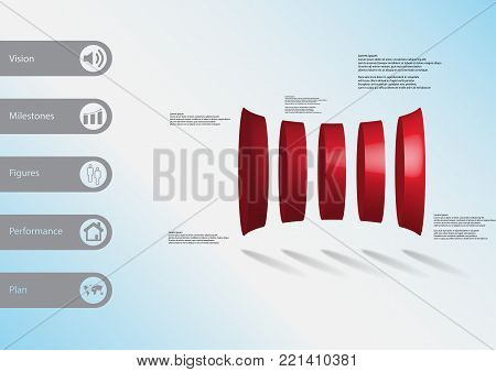 3D illustration infographic template with motif of five orange cylinders horizontally arranged with simple sign and sample text on side in bars. Light blue gradient is used as background.