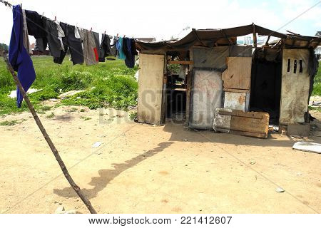 View on poor household and poverty and not a hygienic settlement