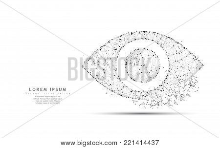 Eye. Polygonal wireframe mesh icon with crumbled edge isolated on white with dots. Vision, health, optical, watch or other concept illustration or background