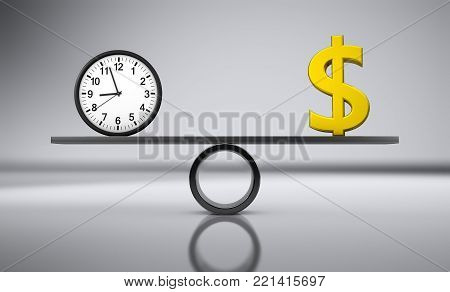 Time and money balance concept with clock and golden dollar sign balancing on a metal board 3D illustration.