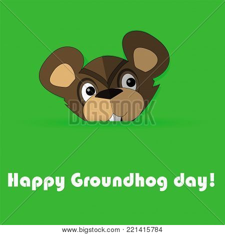 Vector illustration of funny groundhog. card with cute marmot and text. Design for Groundhog day. Flat style. eps10