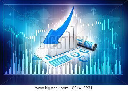 3d illustration Financial crisis concept, Economic Crisis. Business concept in business background