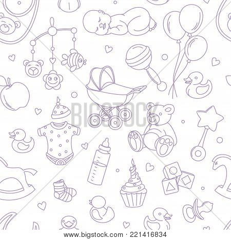 Newborn baby shower seamless pattern for textile, print, greeting cards, wrapping paper, wallpaper. For boy or girl birthday celebration party. Vector illustration design line scetch stile