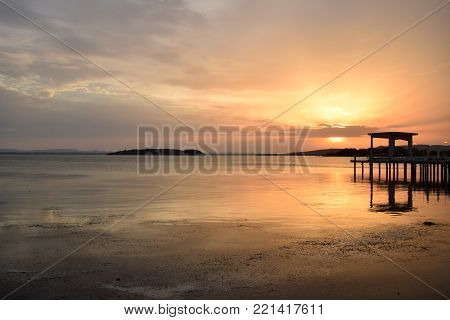 An explosion of colors on Lake Trasimeno at sunset - Umbria - Italy