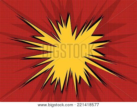 Comic book explosion pop art retro background with halftone dots and speech bubble. Vector illustration on red.