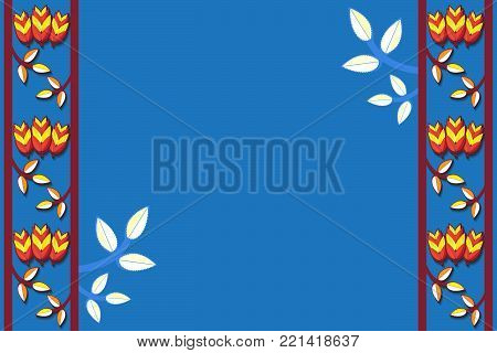 Colorful floral pattern with flowers and spikelets. Vector traditional folk fashion ornament on blue background. Russian folk style. Illustration.
