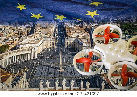 Mini drone flying over Piazza San Pietro and Rome.The EU is working on a regulation to safely integrate piloted drones into the European airspace.The regulation is expected to be completed in spring 2018