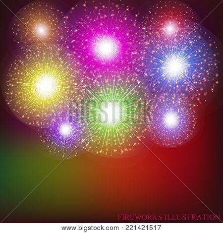 Brightly Colorful Fireworks. Holiday fireworks background. Vector illustration of Fireworks.