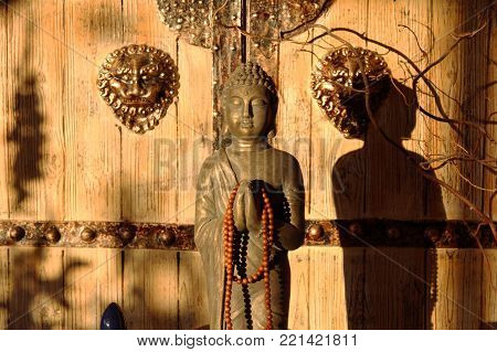 Asian scenery of buddha and shadow in afternoon sunlight