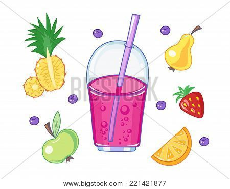 Set of drink and fruits. Pear, ananas, strawberry, apple vegetarian healthy food. Cup of juice. Isolated white background. Eps10 vector illustration.
