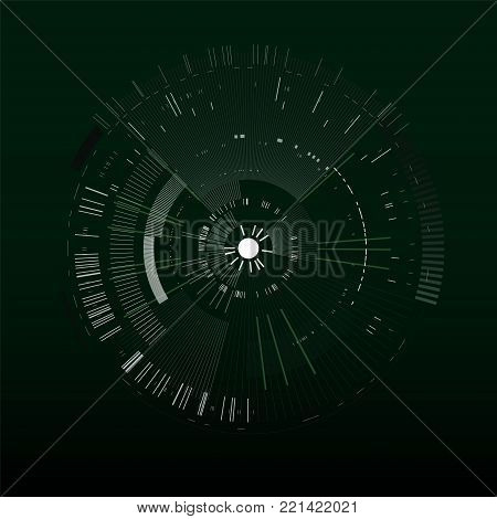 Futuristic interface element. Technology circle. Digital futuristic user interface. HUD. Sci fi futuristic template isolated on black background. Abstract vector illustration