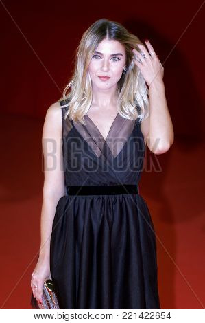 ROME, ITALY - OCTOBER 26: Martina Pinto walks a red carpet for Hostiles during the 12th Rome Film Fest at Auditorium Parco Della Musica